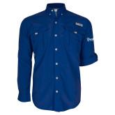 Columbia Bahama II Royal Long Sleeve Shirt-Drake University