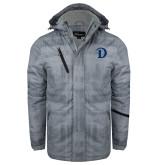 Grey Brushstroke Print Insulated Jacket-Drake D Logo