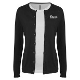 Ladies Black Cardigan-Drake University