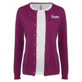 Ladies Deep Berry Cardigan-Drake University