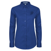 Ladies Royal Twill Button Down Long Sleeve-D Logo