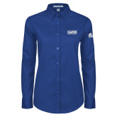Ladies Royal Twill Button Down Long Sleeve-2018 Womens Basketball Tournament Champions