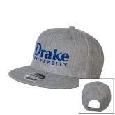 Heather Grey Wool Blend Flat Bill Snapback Hat-Drake University