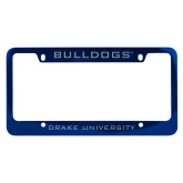 Metal Blue License Plate Frame-Bulldogs
