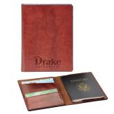 Fabrizio Brown RFID Passport Holder-Drake University  Engraved