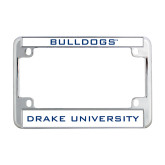 Metal Motorcycle License Plate Frame in Chrome-Bulldogs