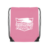 Nylon Light Pink Drawstring Backpack-Official Logo