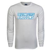 White Long Sleeve T Shirt-Daytona State Falcons Stacked
