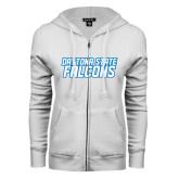 ENZA Ladies White Fleece Full Zip Hoodie-Daytona State Falcons Stacked