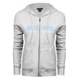 ENZA Ladies White Fleece Full Zip Hoodie-Daytona State Arch
