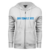 ENZA Ladies White Fleece Full Zip Hoodie-Daytona State
