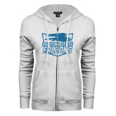 ENZA Ladies White Fleece Full Zip Hoodie-Official Logo Turquoise Glitter