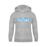 Youth Grey Fleece Hood-Daytona State Falcons Stacked