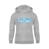 Youth Grey Fleece Hood-Daytona State Falcons Stacked
