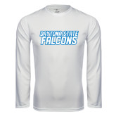 Performance White Longsleeve Shirt-Daytona State Falcons Stacked