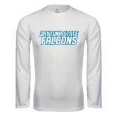 Performance White Longsleeve Shirt-Daytona State Falcons Stacked