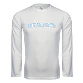 Performance White Longsleeve Shirt-Daytona State Arch