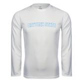 Performance White Longsleeve Shirt-Daytona State Arch