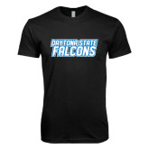Next Level SoftStyle Black T Shirt-Daytona State Falcons Stacked