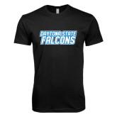 Next Level SoftStyle Black T Shirt-Daytona State Falcons Stacked