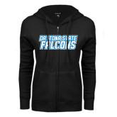 ENZA Ladies Black Fleece Full Zip Hoodie-Daytona State Falcons Stacked