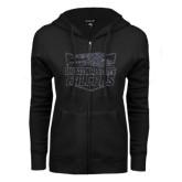 ENZA Ladies Black Fleece Full Zip Hoodie-Official Logo Graphite Soft Glitter