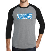 Grey/Black Tri Blend Baseball Raglan-Daytona State Falcons Stacked