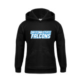Youth Black Fleece Hoodie-Daytona State Falcons Stacked