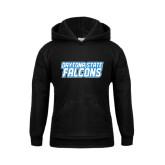 Youth Black Fleece Hood-Daytona State Falcons Stacked