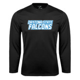 Performance Black Longsleeve Shirt-Daytona State Falcons Stacked