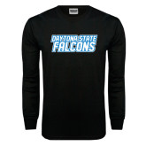 Black Long Sleeve TShirt-Daytona State Falcons Stacked