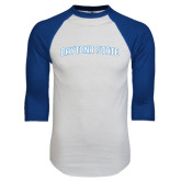 White/Royal Raglan Baseball T Shirt-Daytona State Arch