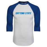 White/Royal Raglan Baseball T Shirt-Daytona State