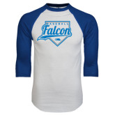 White/Royal Raglan Baseball T Shirt-Baseball Home Plate