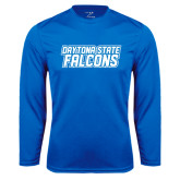 Performance Royal Longsleeve Shirt-Daytona State Falcons Stacked