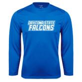 Performance Royal Longsleeve Shirt-Daytona State Falcons Stacked