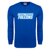 Royal Long Sleeve T Shirt-Daytona State Falcons Stacked