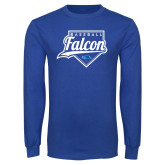 Royal Long Sleeve T Shirt-Baseball Home Plate