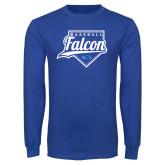 Royal Long Sleeve T Shirt-Baseball Home Plate