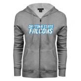 ENZA Ladies Grey Fleece Full Zip Hoodie-Daytona State Falcons Stacked