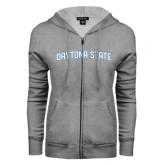 ENZA Ladies Grey Fleece Full Zip Hoodie-Daytona State Arch