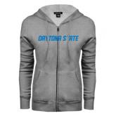 ENZA Ladies Grey Fleece Full Zip Hoodie-Daytona State