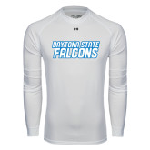 Under Armour White Long Sleeve Tech Tee-Daytona State Falcons Stacked