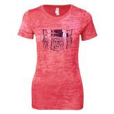 Next Level Ladies Junior Fit Fuchsia Burnout Tee-Official Logo