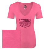 Next Level Ladies Vintage Pink Tri Blend V-Neck Tee-Official Logo Hot Pink Glitter