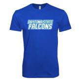 Next Level SoftStyle Royal T Shirt-Daytona State Falcons Stacked