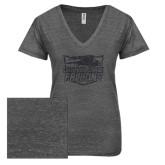 ENZA Ladies Graphite Melange V Neck Tee-Official Logo Graphite Soft Glitter
