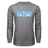 Grey Long Sleeve T Shirt-Daytona State Falcons Stacked