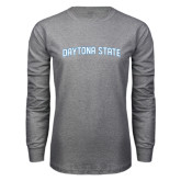 Grey Long Sleeve T Shirt-Daytona State Arch