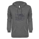ENZA Ladies Dark Heather V-Notch Raw Edge Fleece Hoodie-Official Logo Graphite Soft Glitter